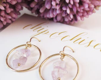 Amethyst Hoop Earrings, Healing Crystals, Peace and Balance Jewelry, Purple Drop Earrings, February, Bridesmaids Jewelry, Bridal, Wedding