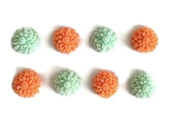 Set of 8 // Floral Magnets // Flower Magnets // Fridge Magnets // Refrigerator Magnets // Coral and Mint Magnets // Resin Flowers