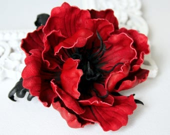 Red Leather Poppy Flower Brooch/Hairclip