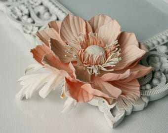 Soft Pink Leather Anemone Flower Brooch/Hair Clip