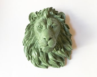OLIVE GREEN, Large Faux Taxidermy Lion Head Wall Mount, Green Lion Head, Lion Head, Mounted Lion, Faux Taxidermy, Faux Animal Head, Safari