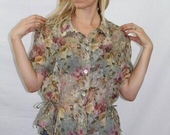 Vintage Sage Green Sheer Floral Peplum Tie Top Women's Size XS S