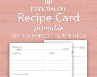 Essential Oil Recipe Card, Printable Recipe Cards, Recipes for Essential Oils, Essential Oil Blend Recipe, Gift for Her, Young Living Recipe
