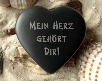 Heart for lovers-optional engraved stone basalt-heart-lucky charm-engraving-love