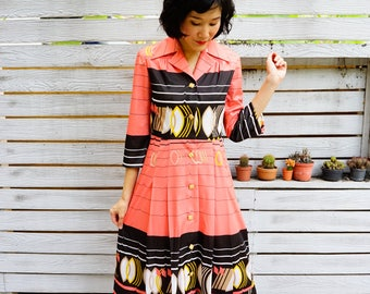 Vintage Dress, 1980s Dress, Vintage Japanese Dress, Women Dress, Summer Dress, 80s Dress, Retro Clothing, Abstract Print Dress, Pleat Dress
