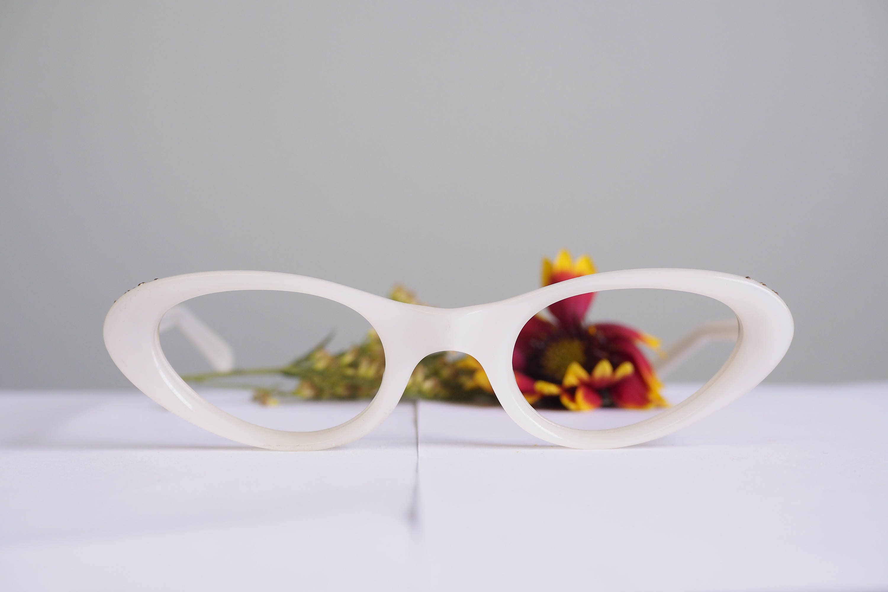 Vintage Cat Eye Frames 1960\'s Cateye Glasses White With RhineStones ...
