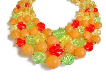 Vintage Bead Necklace Multi Strand  CHOKER LENGTH Colorful Fruit Salad Chunky Unique Plastic Yellow Green Red Gold Signed Germany 15 - 17""