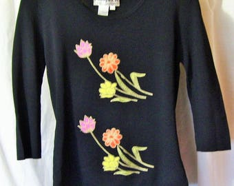 Black Top, Stretch Knit, 3/4 Sleeve, Floral Embroidery, Size Large, Joseph A, Summer, Resort Cruise Wear, Office, School Clothes