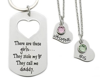 Personalized These Girls They Stole My Heart, They Call Me Daddy - Dad Key Chain - Dad Daughter Set - Father's Day - Daddy