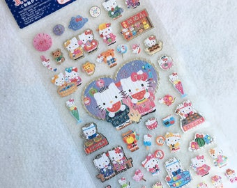 Kawaii Japan Sticker Sheet Assort: 2017 Hello Kitty Japanese Crinkle Washi Paper Summer Night Festival Dear Daniel Yukata Dress Silver R
