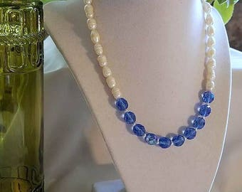 Pearl Necklace, Crystal Necklace, Beaded Necklace, Pearl Jewelry, Crystal Jewelry, Freshwater Pearls Necklace, Blue Crystal Necklace