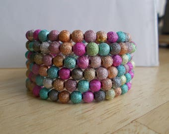 6 Row Memory Wire Cuff Bracelet with Multi Color Aluminum  Beads