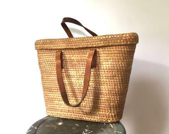 vintage straw handbag purse 70s basket purse woven bag straw beach bag with leather straps top handle bag big straw purse retro summer purse