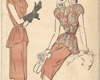Vintage 1940s Advance Pattern 4586 Two Piece Dress with Peplum Bust 32