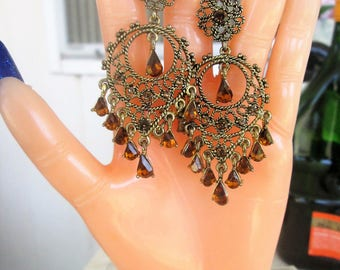 Brown Topaz Rhinestone Dangle Earrings Filigree Vintage Boho  Festival Statement Jewelry Tribal Pierced Earrings