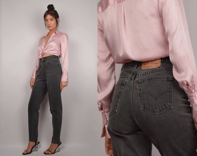 80's Gray LEVI'S / High Waist + Tapered Leg Jeans