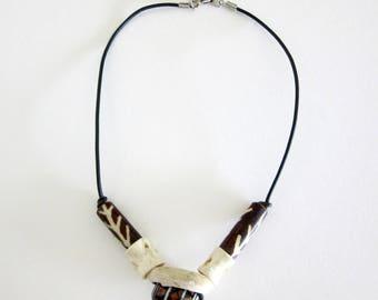 Bone Shell Bead Choker - Leather Thong - Necklace