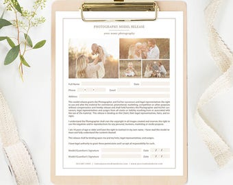 Photography Model Release Form Template - Photography Forms - Photography Branding - Photography Templates - Photography Marketing Organic