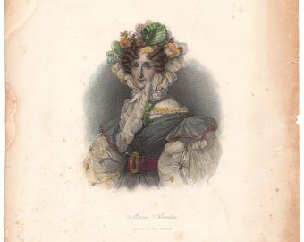 French Queen Marie Amélie, Charming Original Print, 19th Century, Hand Tinted
