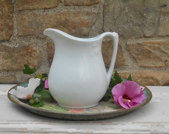 White Ironstone Creamer Milk Pitcher Ewer Iron Stone China Wildflower Decorated Antique Vase Powell and Bishop c. 1878