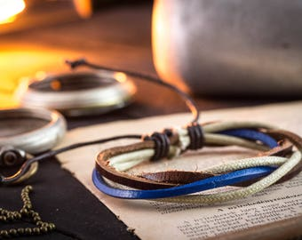 Brown & blue genuine leather and beige waxed cord bracelet, mens bracelet, brown leather bracelet, waxed cord bracelet, casual bracelet