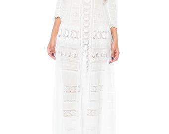 Antique Cotton And Lace Edwardian Tea Dress Size: 4