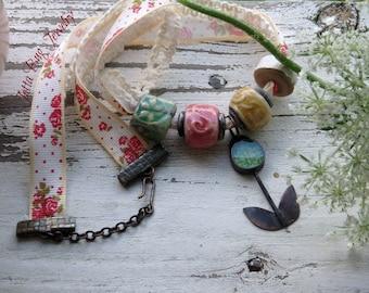 Jade's Tulip- artisan resin tulip. artisan pastel ceramic beads. pastel floral. fiber ribbon lace. woodland necklace. Jettabugjewelry