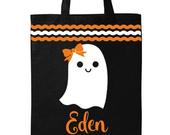Personalized Halloween Trick or Treat Bag- Ghost Girl