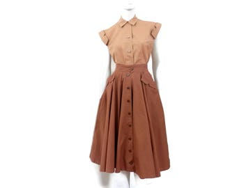 1950's Horrockses Fashion  Blouse and Circle Skirt Outfit Tan and Brown High Waist English Fashion Designers