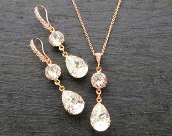 Rose Gold Bridesmaid Set/Rose Gold Earrings/Rose Gold Bridesmaid Jewelry/Rose Gold Necklace/Rose Gold Wedding Earrings/Wedding Necklace/