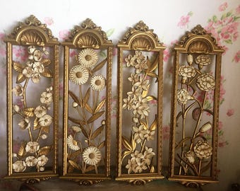 Mid Century Shabby Cream Gold Flowers SYROCO Style Wall Decor PLAQUES, Vintage 70s