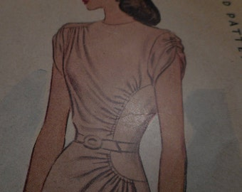 Vintage 1940's McCall 6230 Dress Sewing Pattern Size 16 Bust 34