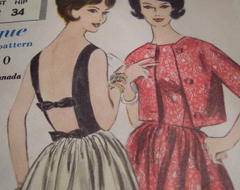 Vintage 1960's Vogue 4248 Dress and Jacket Sewing Pattern, size 12, Bust 32