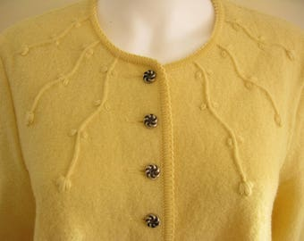 Yellow Geiger Tyrol Womens Size 46 Large 100% Boiled Wool Austrian Cardigan Sweater Coat 80s 90s Vintage