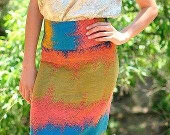 High Waisted Pencil Skirt, Pencil Skirt, High Waisted Skirt, Midi Skirt, Midi Pencil Skirt, Ombre Jacquard Skirt, Couture Skirt, OOAK