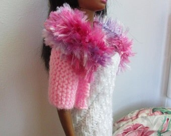Barbie clothes - white strapless dress with pink jacket and fluffy collar