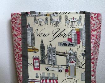 Paris Tote Bag,  New York Tote, Travel Bag, Beach Bag, Shoulder Bag, Canvas Tote, Pink and Gray Tote, Extra Large Tote Bag, Work Tote