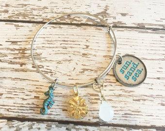 FINAL SALE: Sun Sand Sea Adjustable Silver Charm Bangle Bracelet for Dog Moms