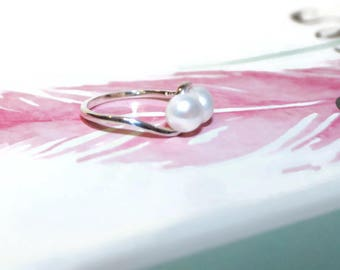 Pearl Ring, Double Pearl Ring, Ring With White Pearls, Sterling Silver Pearl Ring