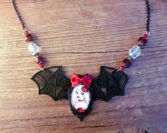 Handmade  Fizzing Cherry necklace // cabaret burlesque style