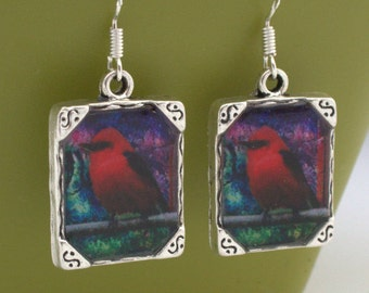 Red Bird Earrings Jewelry 3D Dimensional Cardinal Red Robin Picture