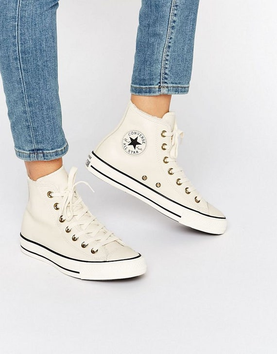 White Leather Converse Fur Lined Ivory Bone High Top w/ Swarovski Crystal Rhinestone Bling Jewel Chuck Taylor All Star Sneakers Shoes