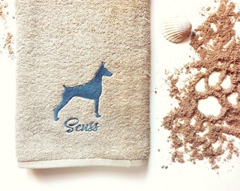 Doberman Towel / Personalized Towel / Monogrammed Towel / Hand Towel / Pets Towel / Bath Towels / Embroidered Towel