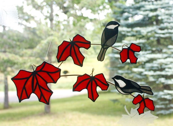 Stained Glass Black Capped Chickadee Pair on Red Maple Branch
