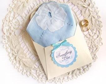 Something Blue, Vintage Handkerchief, Gift for Bride, Wedding Hanky, Something Old, Bridal Shower Gift, Wedding Keepsake, Wedding Gift