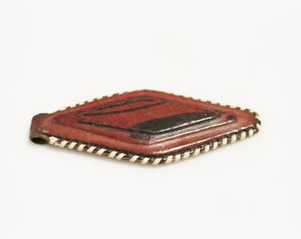 Artisan Mali Tuareg Leather Pendant, African Jewelry Making Supplies (AL270)
