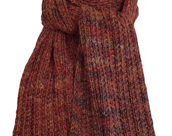 Hand Knit Scarf - Pagewood Farms Red Trail Ridge Rib