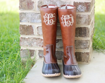 Monogrammed Duck Boots - Monogram Boots - Women's Boots -Two Tone Tall Duck Boots Monogram - Fall Monogram - Gifts for Her