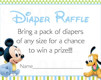 Disney Baby Mickey Mouse Inspired Baby Shower Printable Diaper Raffle Tickets