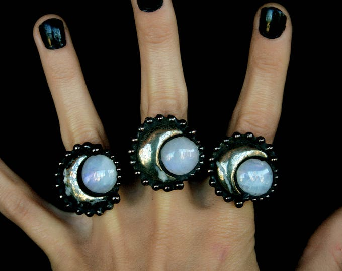 Pyrite Crescent Moon and Rainbow Moonstone Ring